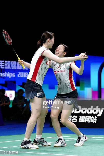 Mayu Matsumoto and Wakana Nagahara of Japan celebrates after defeating Yuki Fukushima and Sayaka Hirota of Japan during the Women's doubles final...