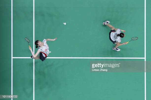 Mayu Matsumoto and Wakana Nagahara of Japan compete against Yuki Fukushima and Sayaka Hirota of Japan during the Women's doubles final match on day 7...