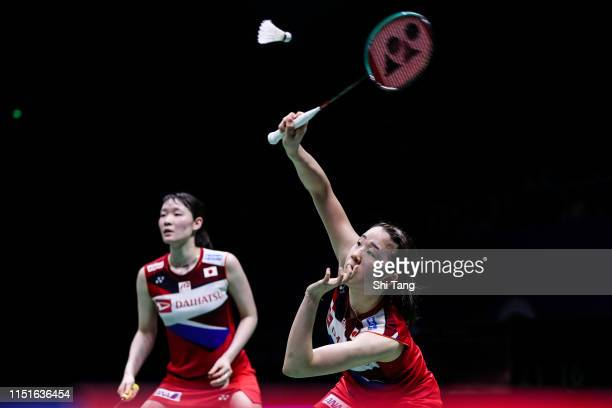Mayu Matsumoto and Wakana Nagahara of Japan compete in the Women's Doubles semi finals match against Greysia Polii and Apriyani Rahayu of Indonesia...