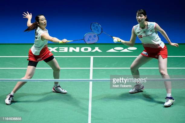 Mayu Matsumoto and Wakana Nagahara of Japan compete in the Women's Doubles Final match against Kim So Yeong and Kong Hee Yong of South Korea on day...