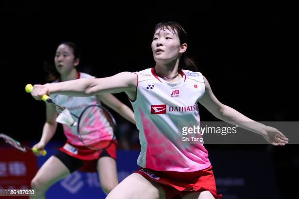 Mayu Matsumoto and Wakana Nagahara of Japan compete in the Women's Doubles semi finals match against Lee So Hee and Shin Seung Chan of Korea on day...