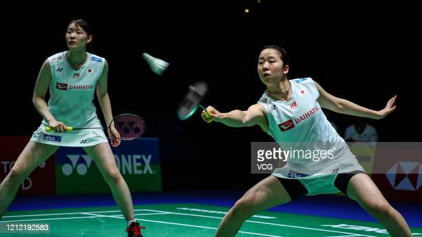Mayu Matsumoto and Wakana Nagahara of Japan compete in the Women's Doubles quarter-final match against Du Yue and Li Yinhui of China on day three of...