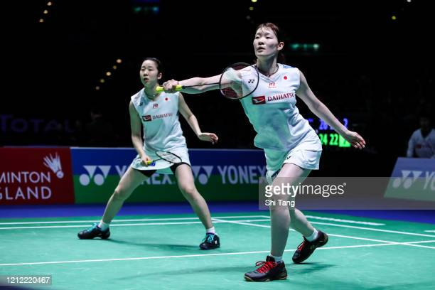 Mayu Matsumoto and Wakana Nagahara of Japan compete in the Women's Doubles quarter finals match against Du Yue and Li Yinhui of China on day three of...