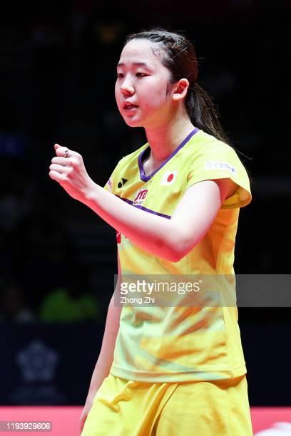 Mayu Matsumoto and Wakana Nagahara of Japan react during the women's doubles semi final match against Yuki Fukushima and Sayaka Hirota of Japan on...