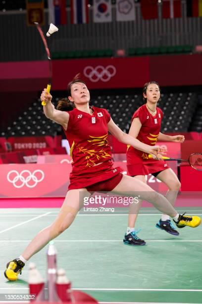 Mayu Matsumoto and Wakana Nagahara of Team Japan compete against Rachel Honderich and Kristen Tsai of Team Canada during a Women's Doubles Group B...