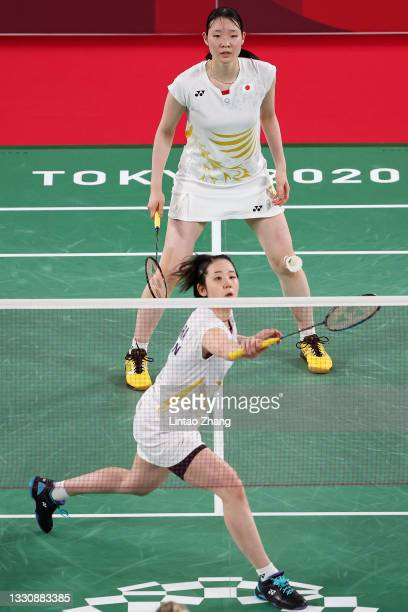 Mayu Matsumoto and Wakana Nagahara of Team Japan compete against Cheryl Seinen and Selena Piek of Team Netherlands during a Women's Doubles Group B...