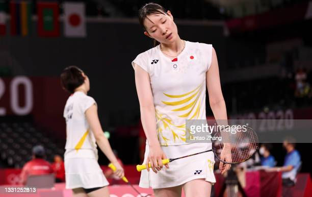 Mayu Matsumoto and Wakana Nagahara of Team Japan react after being defeated by Kim Soyeong and Kong Heeyong of Team South Korea during a Women's...