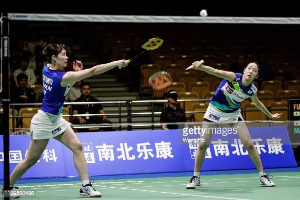 Mayu Matsumoto and Wakana Nagajara of Japan react during the women's doubles Semifinal match against Yuki Fukushima and Sayaka Hirota of Japan at the...