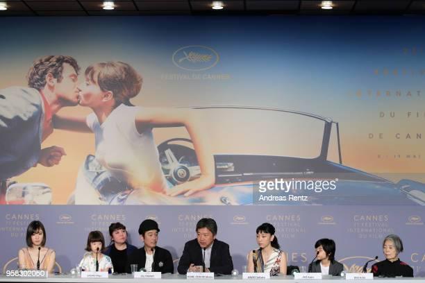 Mayu Matsuoka Miyu Sasaki Lily Franky Hirokazu Koreeda Sakura Ando Jyo Kairi and Kirin Kiki attend the press conference for Shoplifters during the...