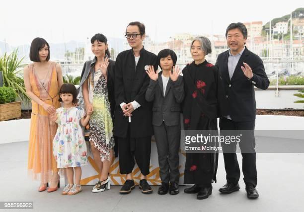 Mayu Matsuoka Miyu Sasaki Sakura Ando Lily Franky Jyo Kairi Kirin Kiki and director Hirokazu Koreeda attend the photocall for Shoplifters during the...