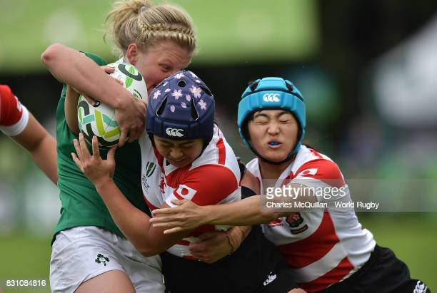 Mayu Shimizu of Japan is tackled during the Women's Rugby World Cup 2017 match between Ireland and Japan on August 13 2017 in Dublin Ireland