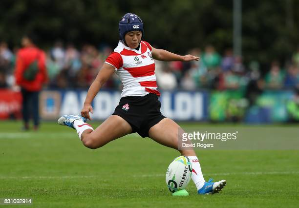 Mayu Shimizu of Japan kicks a conversion during the Women's Rugby World Cup 2017 match between Ireland and Japan on August 13, 2017 in Dublin,...