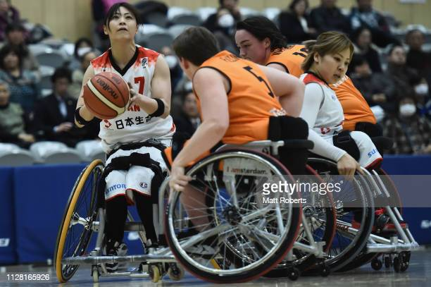 Mayumi Tsuchida of Japan shoots during the Women's Wheelchair Basketball friendly between Netherlands and Japan at Kikkoman Arena on February 08,...