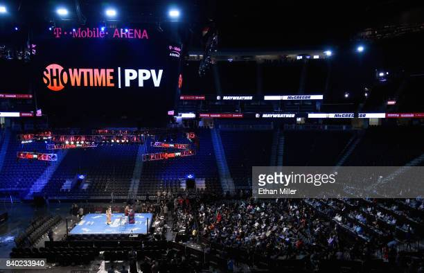 Mayweather Promotions CEO Leonard Ellerbe speaks during a news conference after Floyd Mayweather Jr defeated Conor McGregor by 10thround TKO in their...