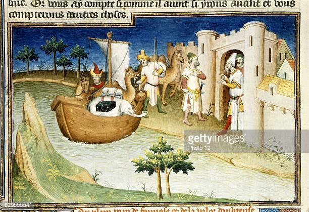 Mazarine MasterFrench schoolThe Travels of Marco Polo Marco Polo arriving at Hormuz in the Persian Gulf14101412Miniature from the 'Livre des...