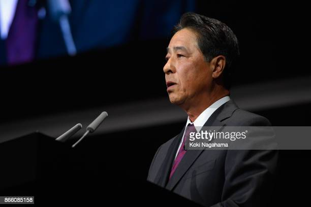 Mazda Motor Co CEO Masamichi Kogai speaks during a press conference at the Mazda Motor Co booth during the Tokyo Motor Show at Tokyo Big Sight on...