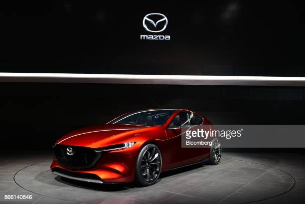 A Mazda Motor Corp Kai concept vehicle stands on display at the Tokyo Motor Show in Tokyo Japan on Wednesday Oct 25 2017 Japan's flagship automakers...