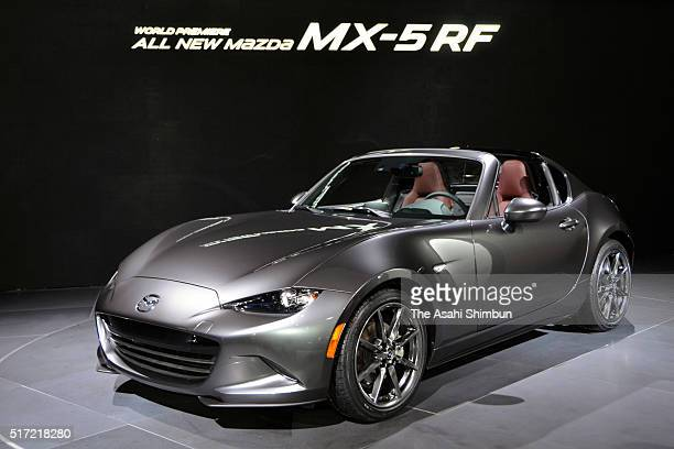 Mazda Motor Co's MX5 RF is displayed at the New York International Auto Show at the Javits Center on March 23 2016 in New York City