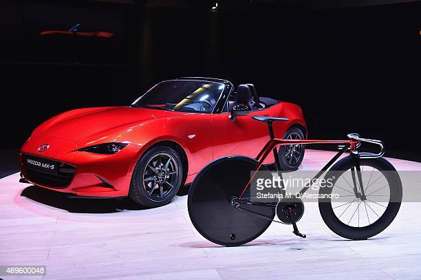 Mazda MX5 and the Bike by KODO concept are displayed during the Mazda Design press conference as a part of Milan Design Week on April 13 2015 in...
