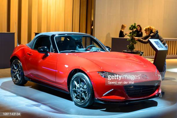 Mazda MX5 compact sportscar front view on display at Brussels Expo on January 13 2017 in Brussels Belgium The MX5 or Miata in North America of the...