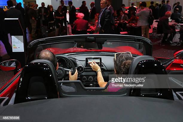 Mazda MX5 of MAZDA Motor Corporation is displayed during the Frankfurt Motor Show on September 15 2015 in Frankfurt am Main Germany