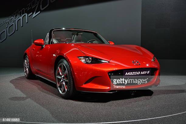 mazda mx-5 on the motor show - mazda mx 5 stock photos and pictures