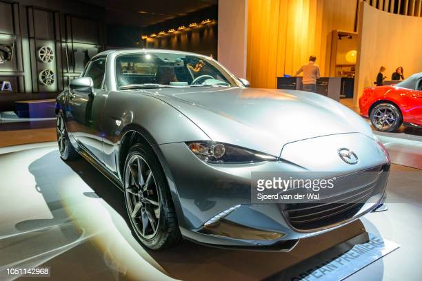 Mazda MX5 RF compact sportscar front view on display at Brussels Expo on January 13 2017 in Brussels Belgium The MX5 or Miata in North America of the...