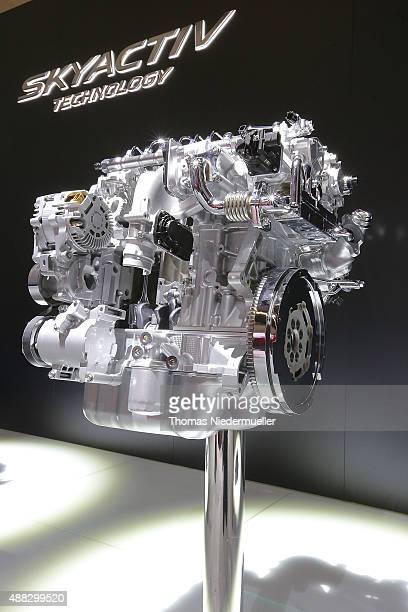 Mazda SKYACTIVD 22 engine is displayed during the Frankfurt Motor Show on September 15 2015 in Frankfurt am Main Germany