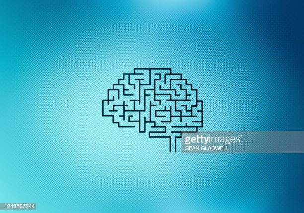maze brain on screen - strategy stock pictures, royalty-free photos & images