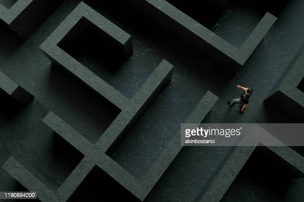 3d maze labyrinth and businessman - complexity stock pictures, royalty-free photos & images
