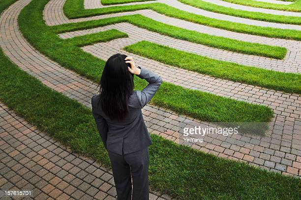 Maze with Lost Business Woman Facing Employment and Occupation Issues