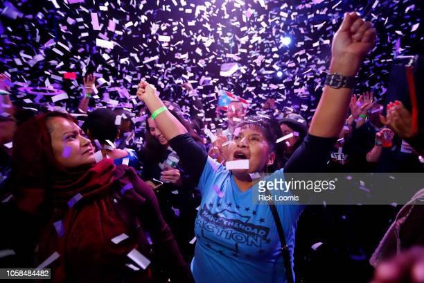 Mazeda Uddin and Marta Cualotuna celebratre the victory of Alexandria OcasioCortez at La Boom night club in Queens on November 6 2018 in New York...