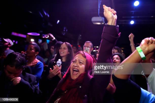 Mazeda Uddin celebrates the victory of Alexandria OcasioCortez at La Boom night club in Queens on November 6 2018 in New York City With her win...