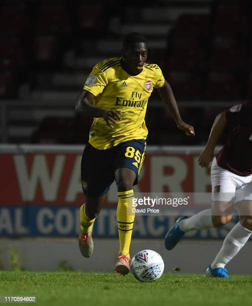 Mazeed Ogungbo of Arsenal during the Leasingcom match between Northampton Town and Arsenal U21 at PTS Academy Stadium on August 27 2019 in...