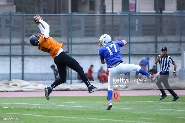 Mazen of the Tigers scores a touchdown during the Egyptian league of American football in Cairo Egypt on 16 Feburary 2018 This year's competition...