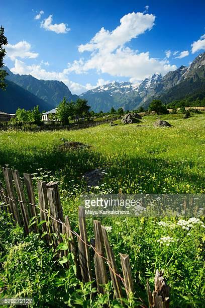 mazeri village, caucasus mountain, svaneti,georgia - georgia country stock pictures, royalty-free photos & images
