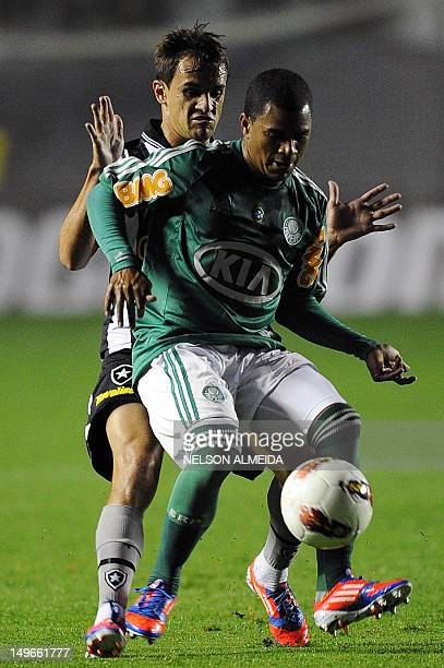Mazinho of Brazil's Palmeiras, vies for the ball with Lucas of Brazil's Botafogo during their Sudamerica Cup football match at Arena Barueri in...