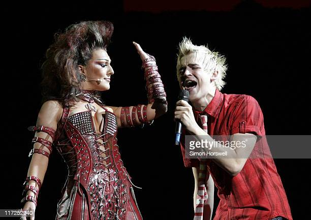 Mazz Murray as the Killer Queen with McFly during We Will Rock You Charity Performance to Celebrate Freddie Murcury's 60th Birthday at The Dominion...