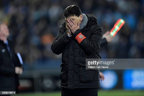 Mazzu Felice head coach of Charleroi looks dejected on the final whistle after the defeat during the Jupiler Pro League match between Club Brugge and...