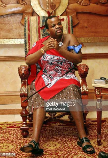 A picture taken 08 April 2006 of King of Swaziland Mswati III at his palace in Mbabane Mswati is celebrating 25 April 2006 his 20th anniversary as...