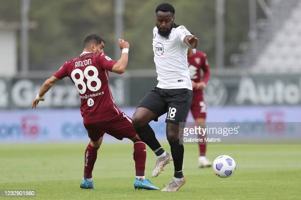 Mbala Nzola of Spezia Calcio battles for the ball with Tomas Rincon of Torino FC during the Serie A match between Spezia Calcio and Torino FC at...