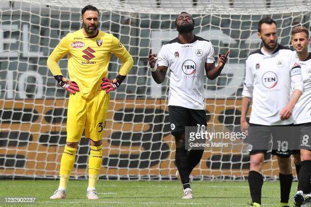Mbala Nzola of Spezia Calcio celebrates the goal during the Serie A match between Spezia Calcio and Torino FC at Stadio Alberto Picco on May 15, 2021...
