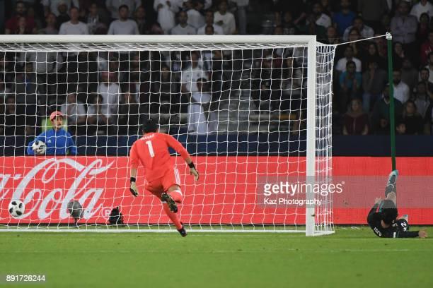 Mbark Boussoufa of Al Jazira scores but has it disallowed during the FIFA Club World Cup semifinal match between Al Jazira an Real Madrid CF on...