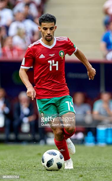 Mbark Boussoufa of Morocco controls the ball during the 2018 FIFA World Cup Russia group B match between Portugal and Morocco at Luzhniki Stadium on...