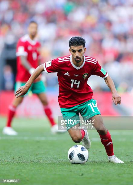 Mbark Boussoufa of Morocco controls the ballduring the 2018 FIFA World Cup Russia group B match between Portugal and Morocco at Luzhniki Stadium on...