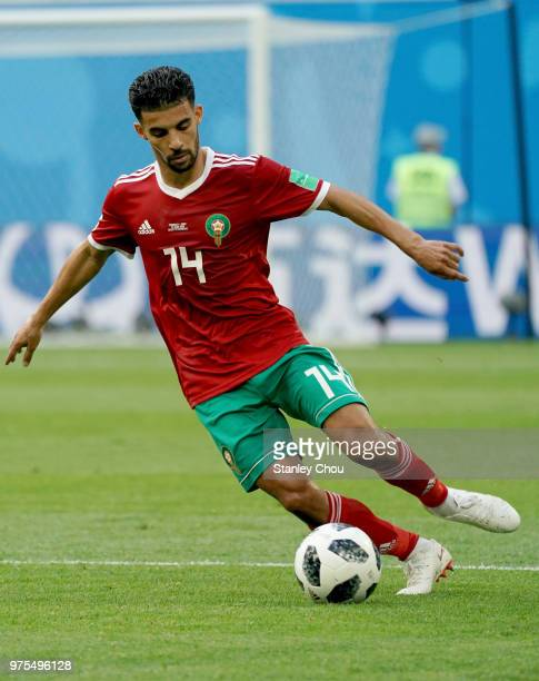 Mbark Boussoufa of Morocco dribbles the ball during the 2018 FIFA World Cup Russia group B match between Morocco and Iran at Saint Petersburg Stadium...