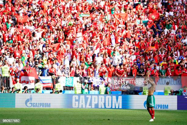 Mbark Boussoufa of Morocco during the 2018 FIFA World Cup Russia group B match between Portugal and Morocco at Luzhniki Stadium on June 20 2018 in...