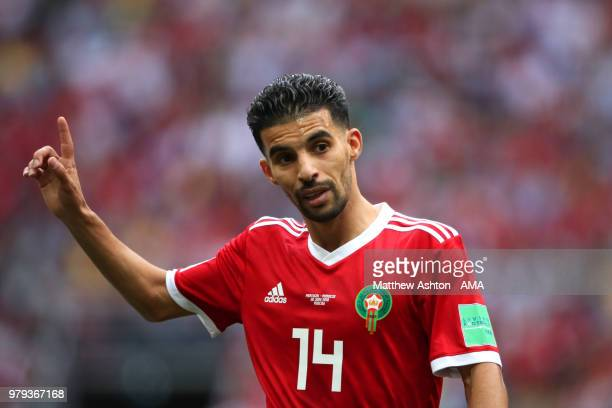 Mbark Boussoufa of Morocco gestures during the 2018 FIFA World Cup Russia group B match between Portugal and Morocco at Luzhniki Stadium on June 20...
