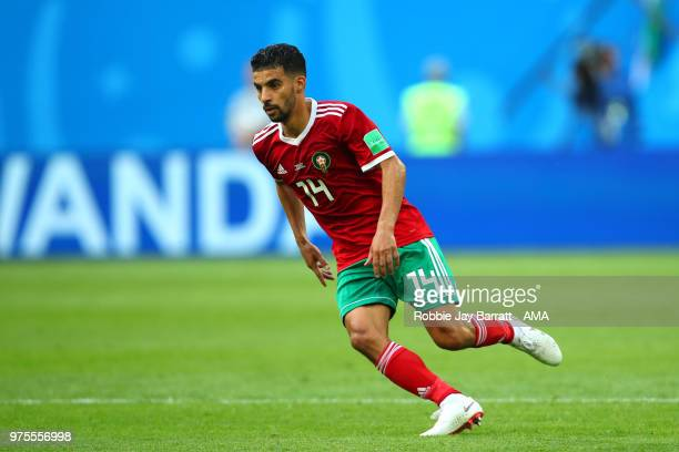 Mbark Boussoufa of Morocco in action during the 2018 FIFA World Cup Russia group B match between Morocco and Iran at Saint Petersburg Stadium on June...