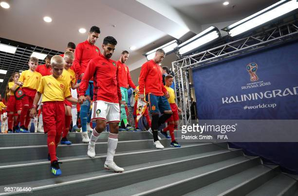 Mbark Boussoufa of Morocco leads his team out prior to the 2018 FIFA World Cup Russia group B match between Spain and Morocco at Kaliningrad Stadium...